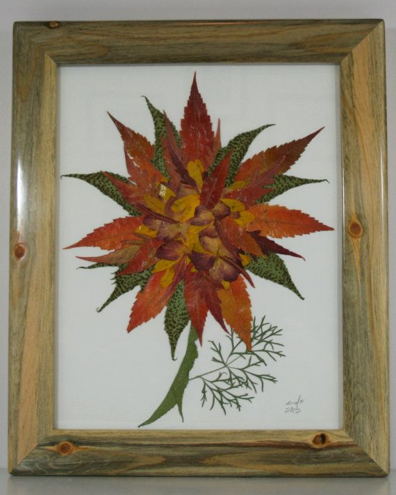 Unique art made with pressed flowers! 11x14 beetle kill pine frame, hand crafted in USA. 019