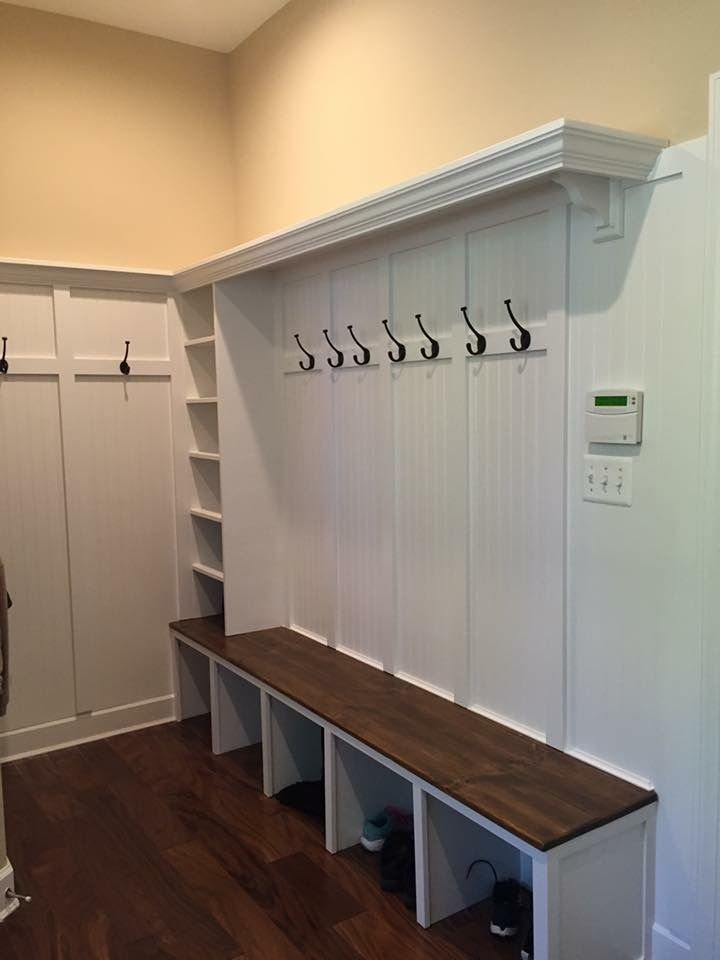 White Mudroom With Wood Bench Mudroom Design Mudroom Makeover
