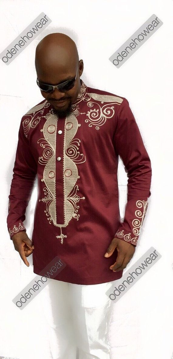 Odeneho Wear Men S Burgundy Polished Cotton Top By Odenehowear For
