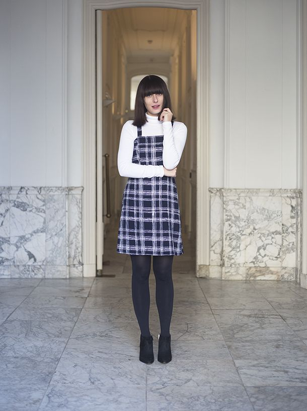 154aa73997e5 Plaid Shift Dress and Turtleneck Top, Very 60s and 90s fashion inspired,