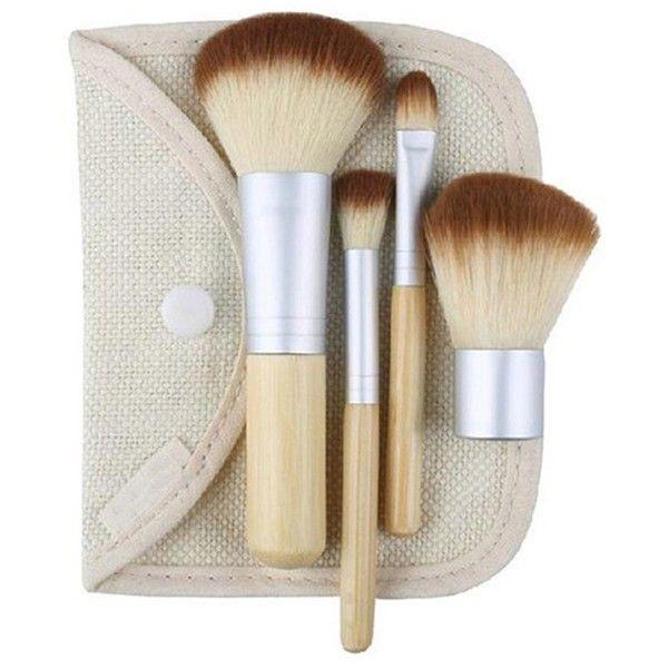 4Pcs Bamboo Handle Makeup Brush Set Powder Blush Eye Lip Brushes ($4.77) ❤ liked on Polyvore featuring beauty products, makeup, makeup tools, makeup brushes, powder blush, cosmetic purse, purse makeup bag, dopp bag и lip brush