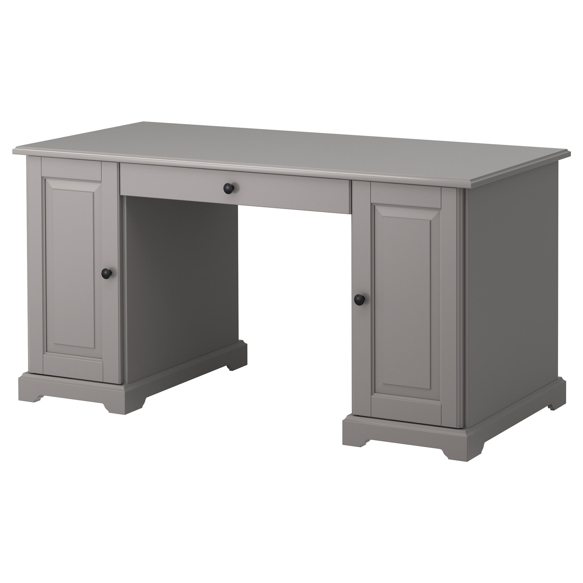 Ikea Liatorp Desk Gray You Can Fit A Computer In The Cabinet Since Shelf Is Adjule Drawer Stops Prevent Drawers From Being Pulled Out Too