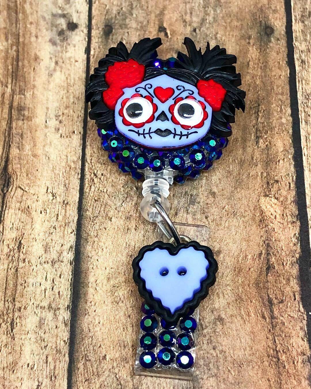 Halloween Zombie Girl ID Badge Reel - Retractable Badge Holder