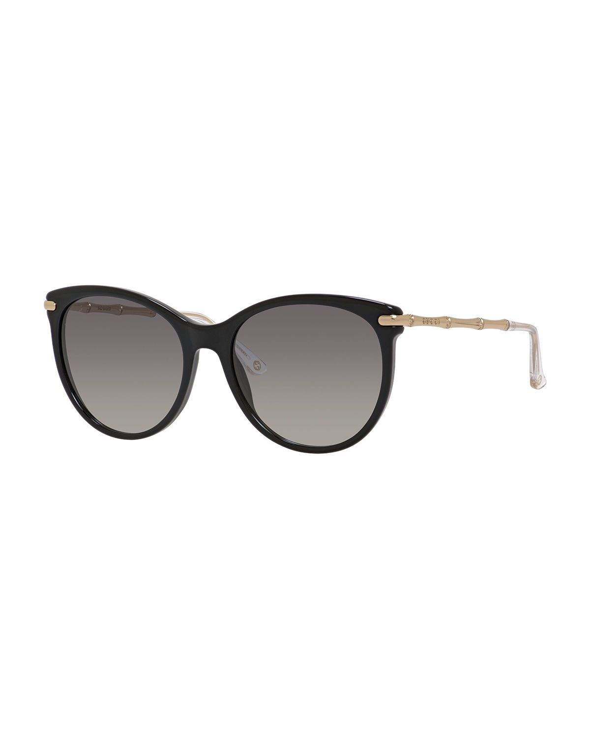 420419bc93d Gucci cat-eye sunglasses. Acetate and metal frames. Round lenses. Etched  arms. 100% UVA UVB protection. Imported.