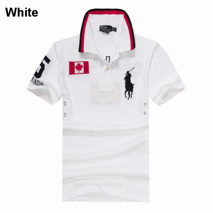 Polo Ralph Lauren Men Custom Fit Big Pony Canada Flag Shirt White