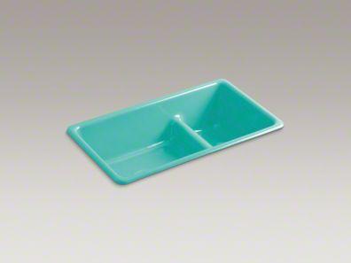 Kohler Iron Tones Double Bowl Kitchen Sink In Palermo Blue