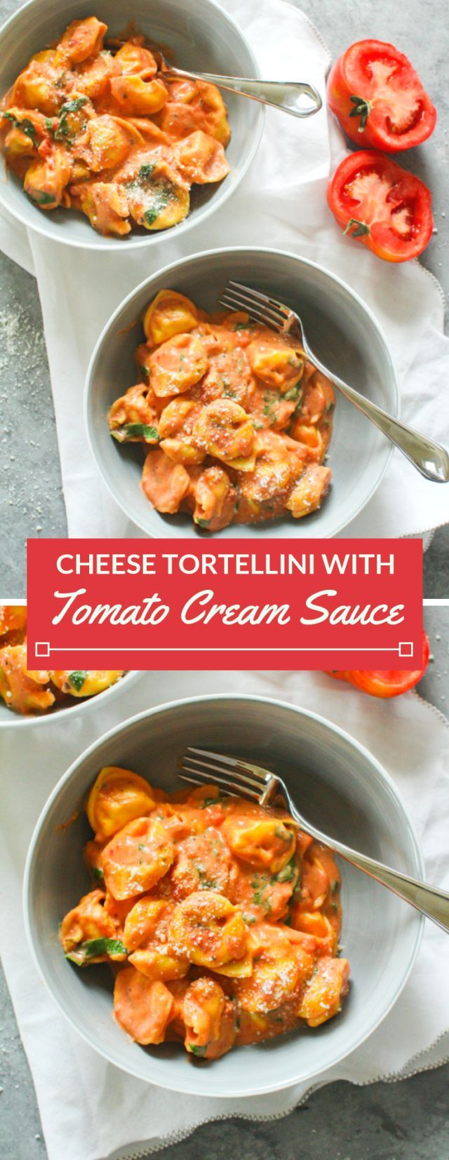 Cheese Tortellini with Tomato Cream Sauce - Zen & Spice
