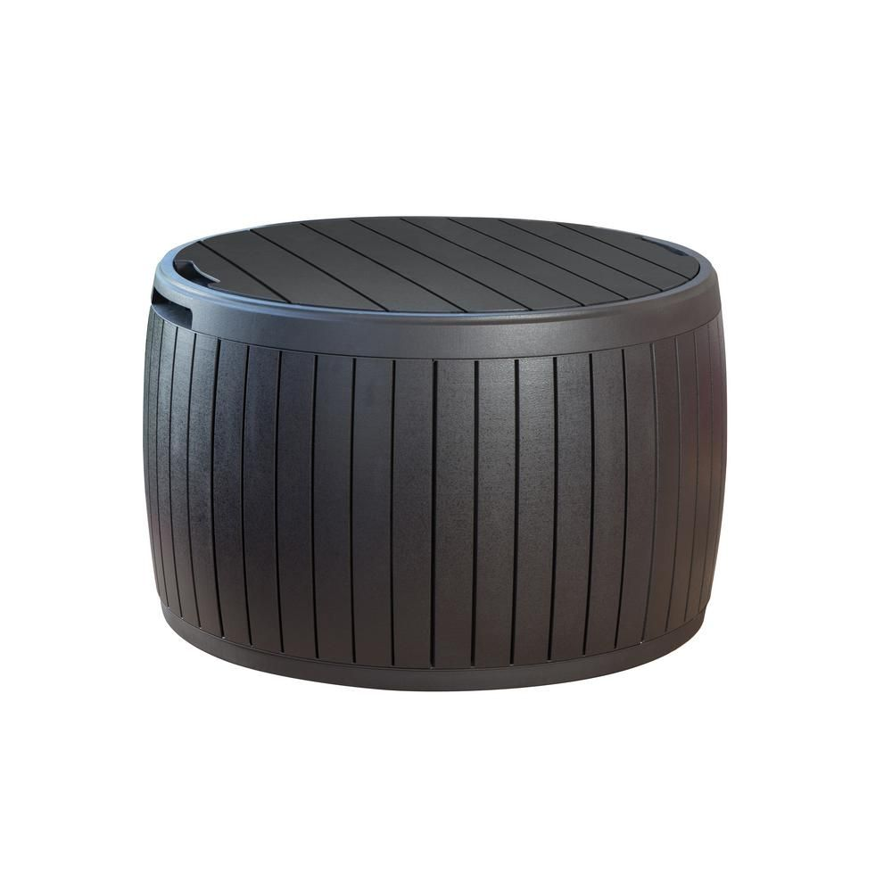 Keter circa gal resin storage circular deck box brown in