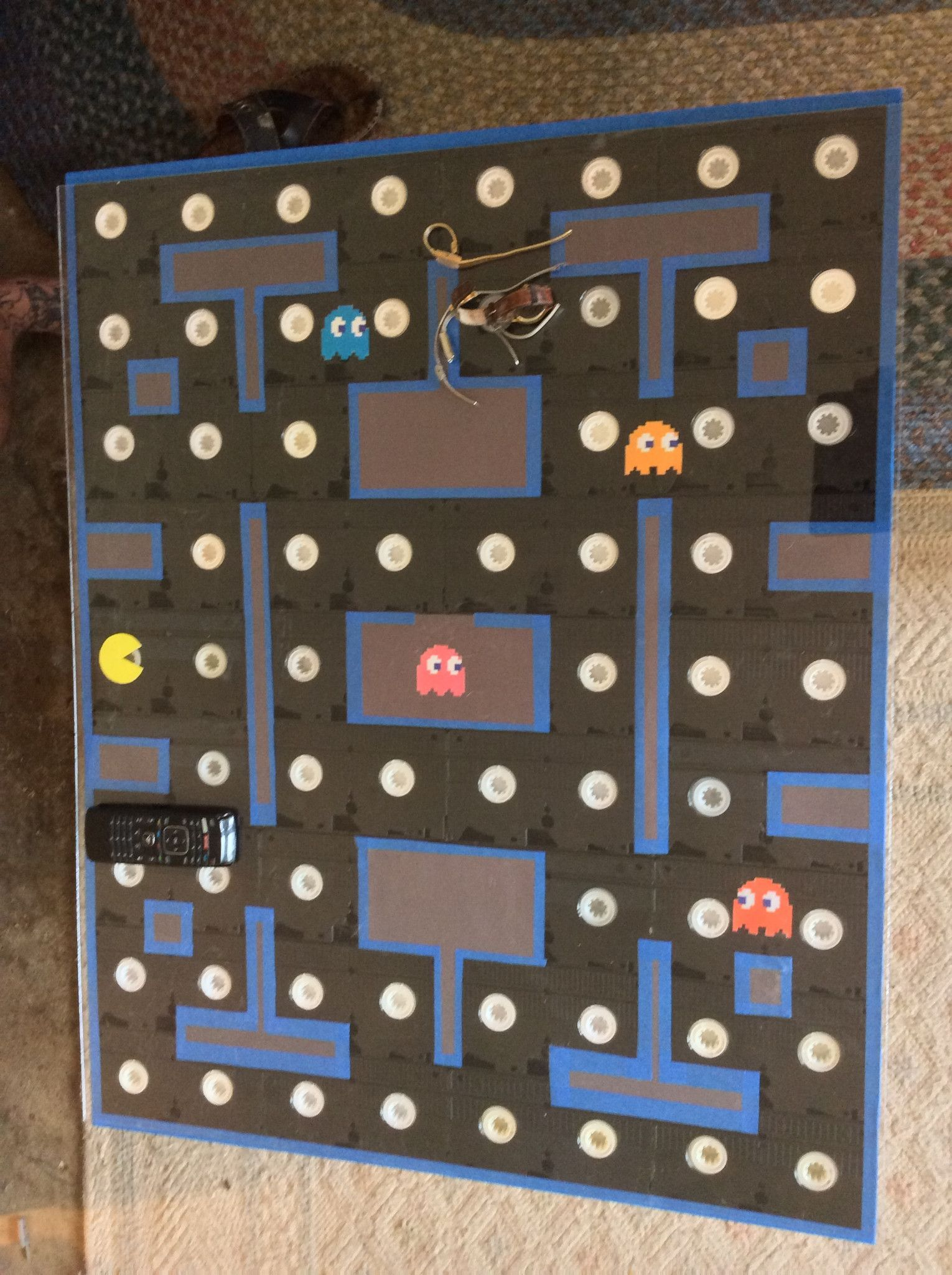 Repurposed VHS Coffee Table with Pacman Decor