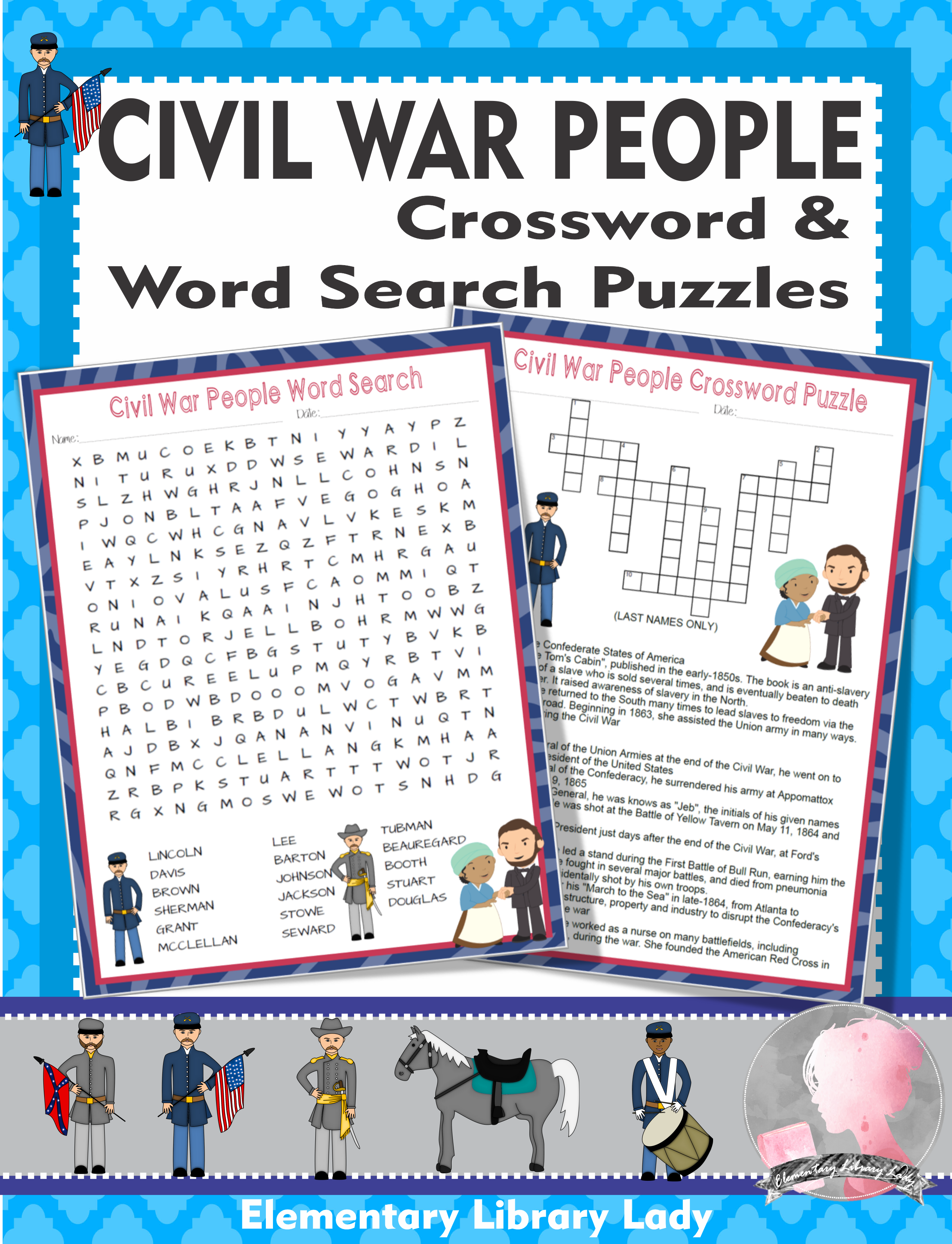 Civil War Activities People Crossword Puzzle And Word
