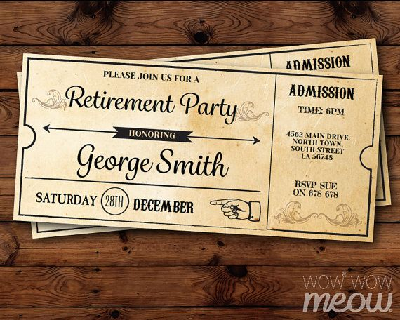 retirement invitation train ticket express invite by wowwowmeow