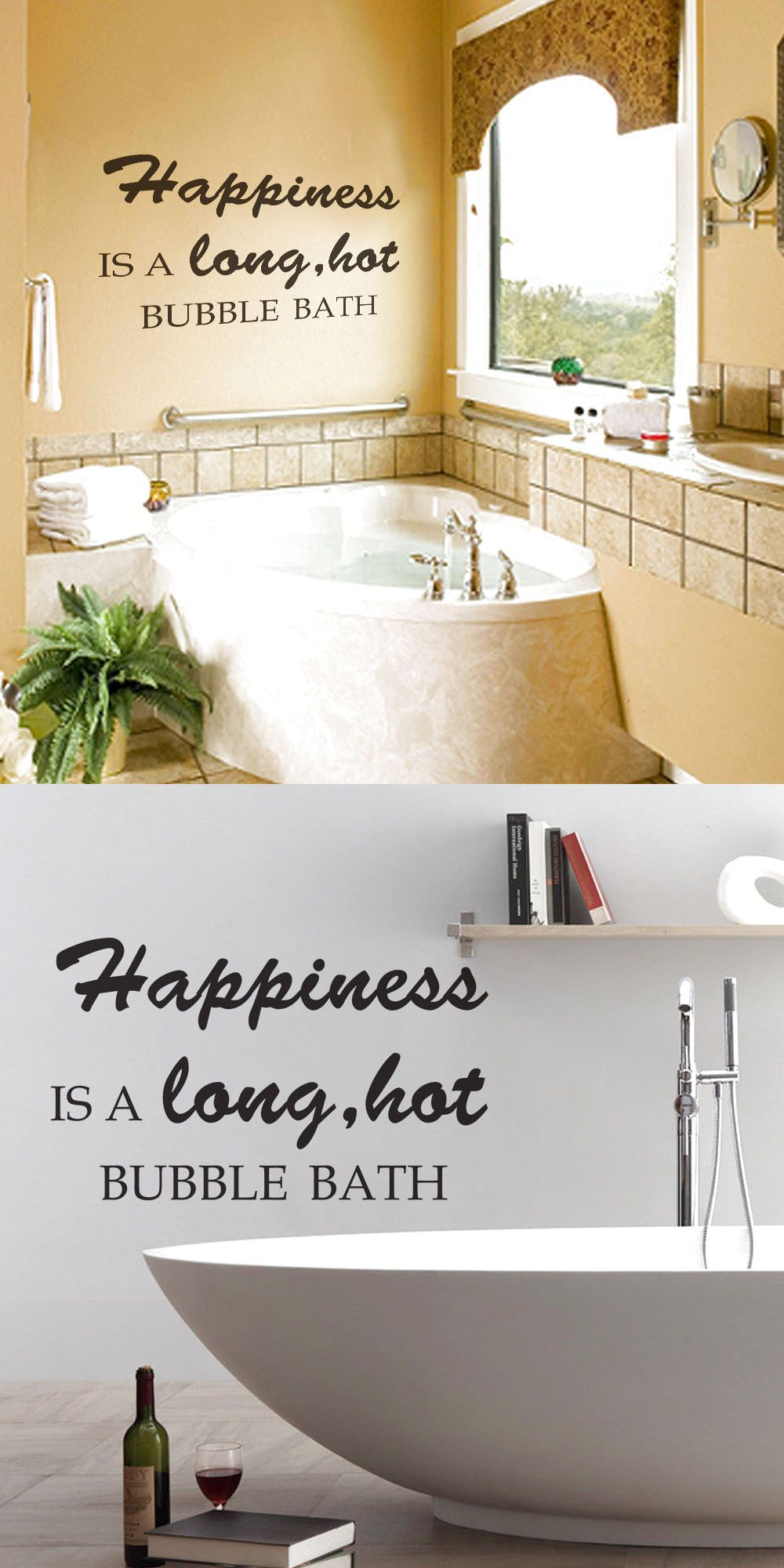 Bathroom inspired wall decal happiness bubble quote shower room
