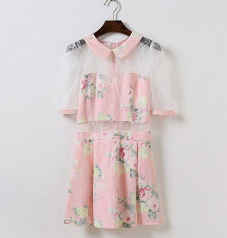 Harajuku Kawaii Lolita Sweet Summer Vintage Lace Half Sleeve Floral Dress (Pink,White,Blue)