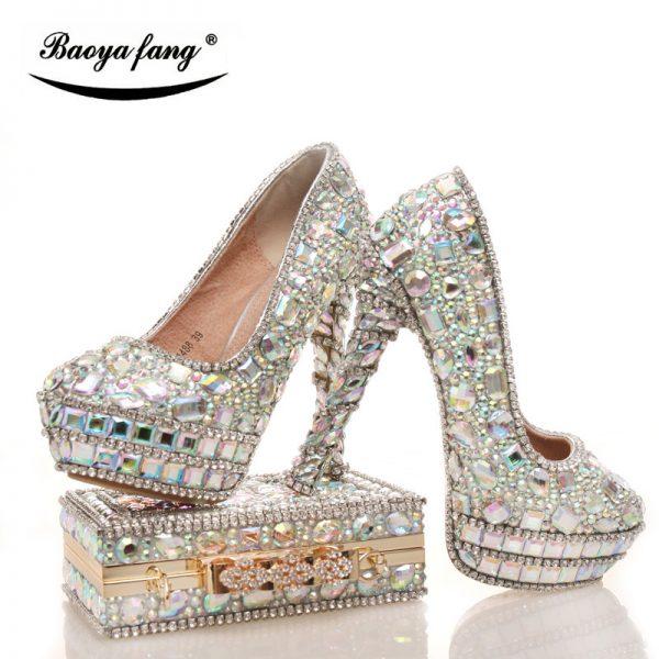 Silver Shining Crystal Heels Bag In 2020 Bride Shoes Wedding