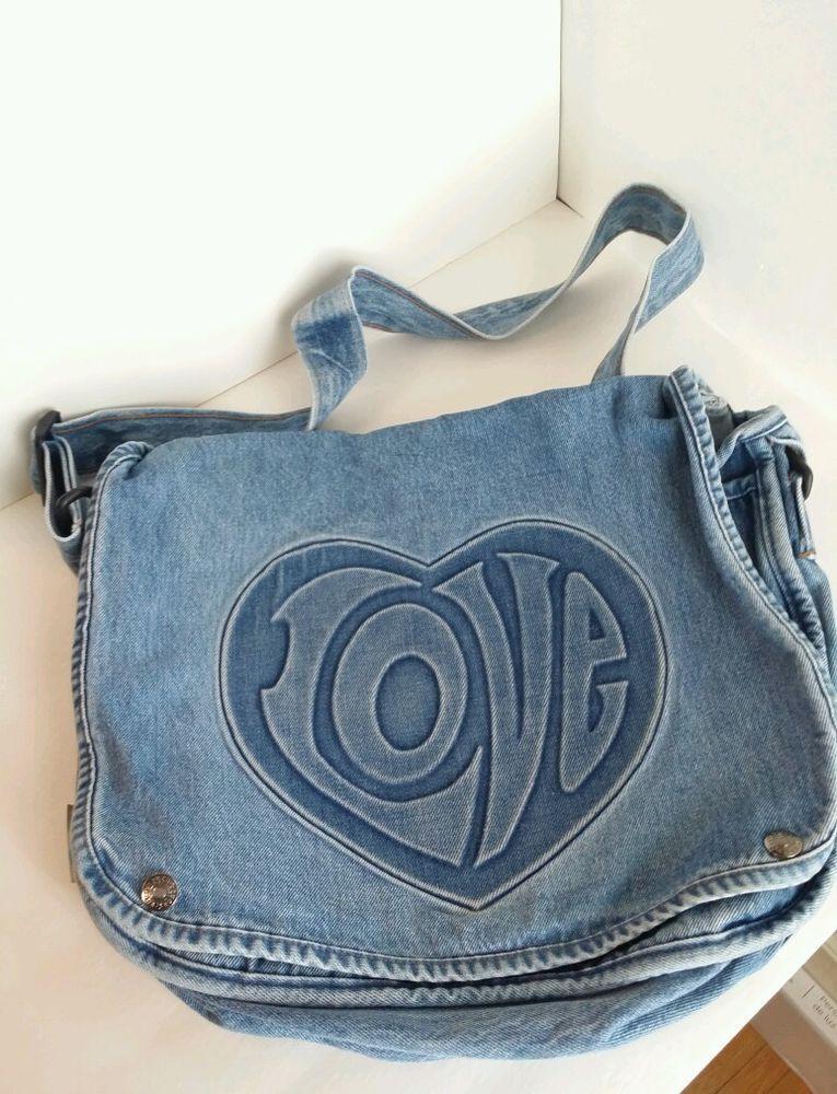 Hard Rock Cafe Las Vegas Denim messenger bag  Love Retro Vintage Hipster BLUE #HardRockCafe #SatchelTote