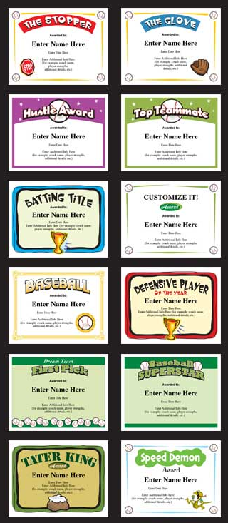 Baseball Certificates Templates Awards Create Your Own Baseball Team Gift Baseball Coach Gifts Baseball Camp