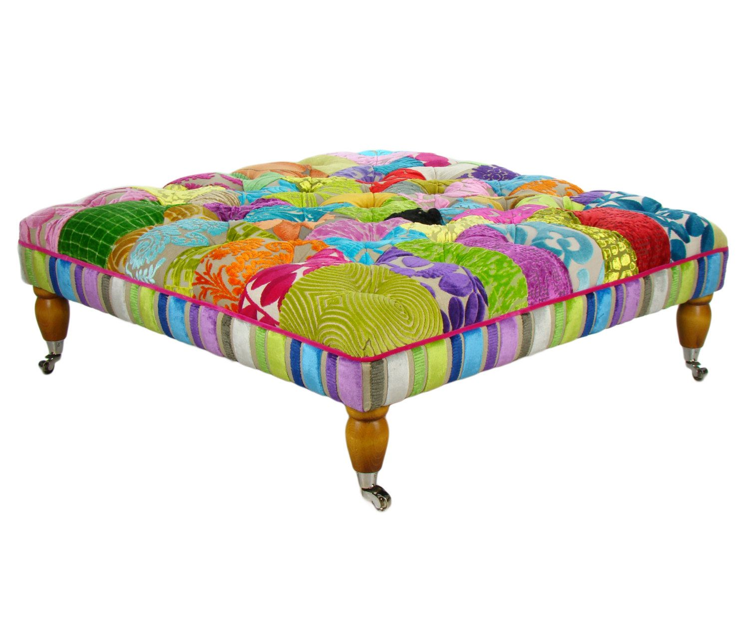Bespoke Large Patchwork Footstool Coffee Table In Designers Guild