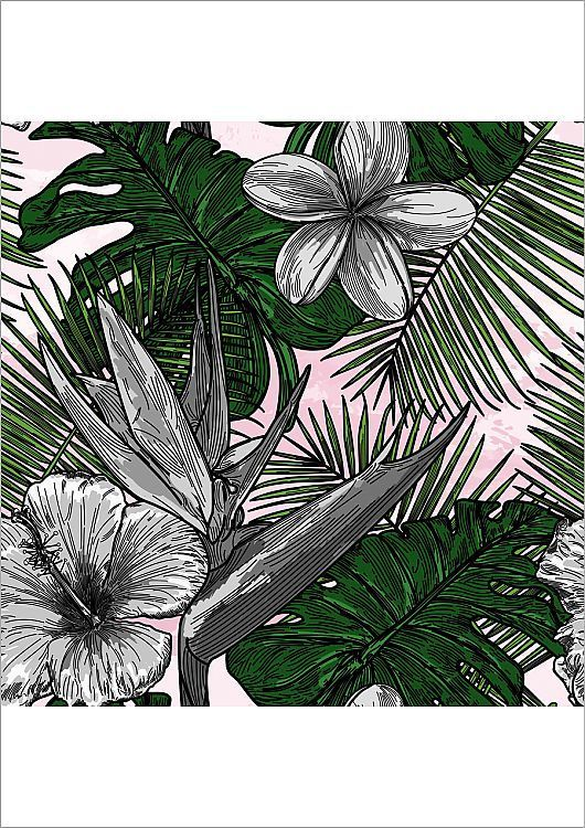 Poster Print-Modern Tropical Floral Pattern-16x23 Poster sized print made in the USA #tropicalpattern