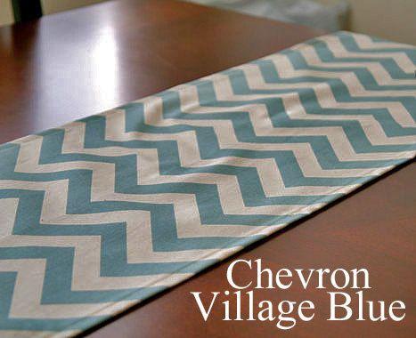 Chevron Village Blue Table Runner 10 x 72 Wedding Gift Table Runners Decorative Holidays. $9.99, via Etsy.