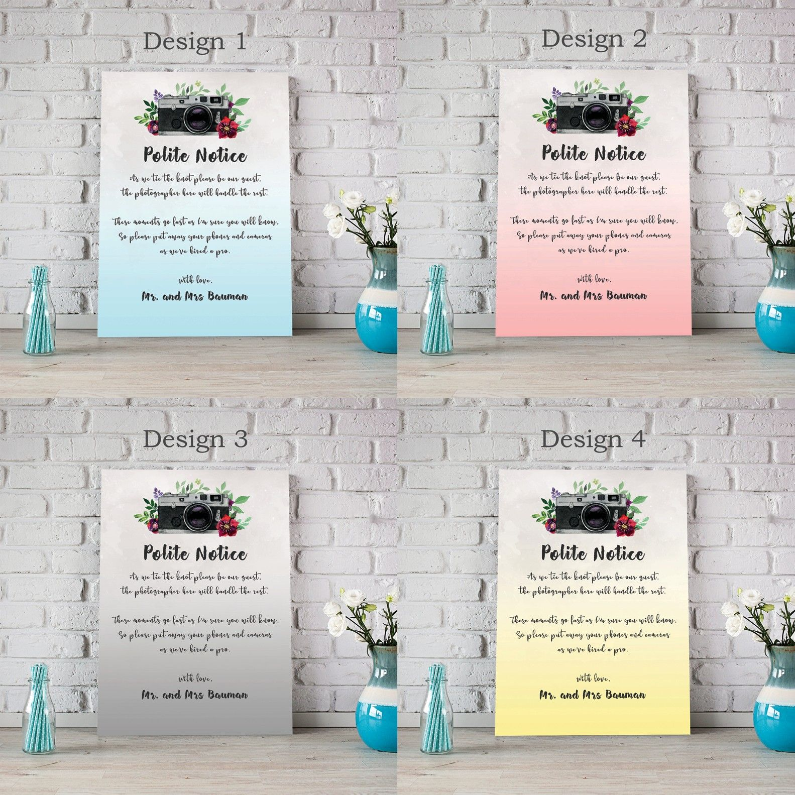 Wedding Polite Notice For Phones and Cameras Unplugged Wedding Ceremony Polite Notice  Personalised Wedding Polite Notice For Phones and Cameras Unplugged Wedding Ceremon...