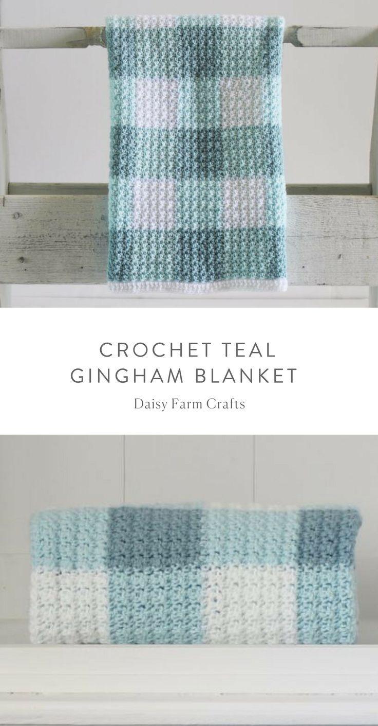 Free Pattern - Crochet Teal Gingham Blanket   Crochet- I\'m Hooked ...