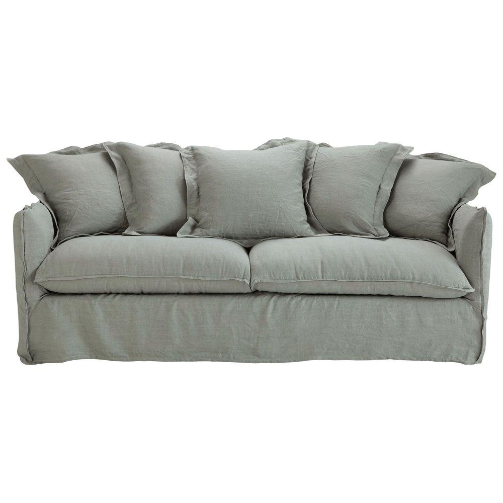 Canapé-lit 3/4 places en lin lavé gris clair | Lin lavé, Gris ...