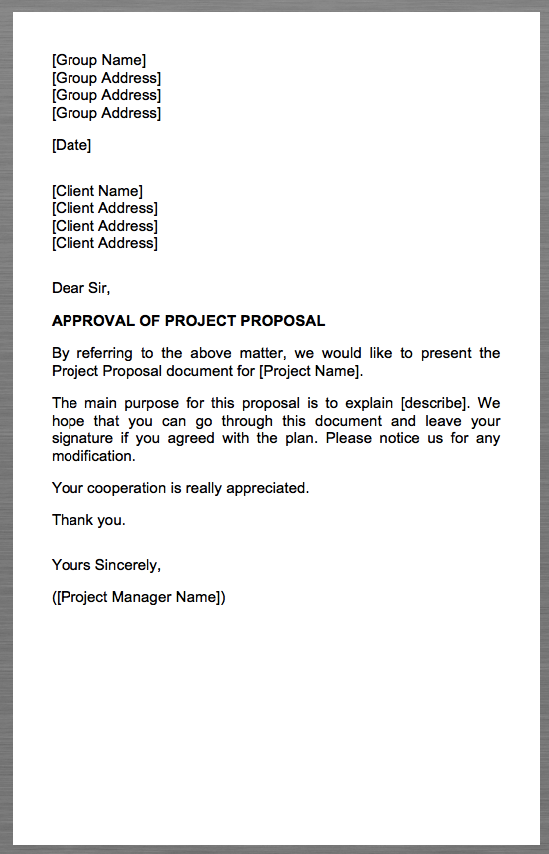 project proposal cover letter group name group address group address - Proposal Cover Letter