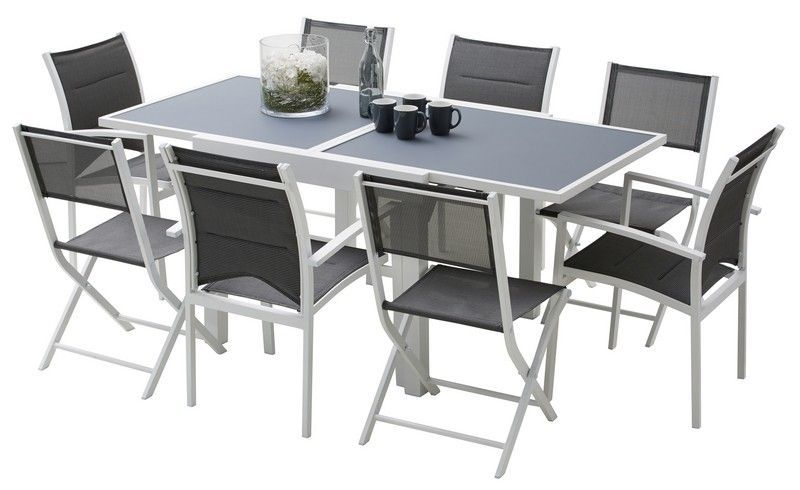 Ensemble salon de jardin Modulo 4/8 places blanc/gris perle | Salons ...