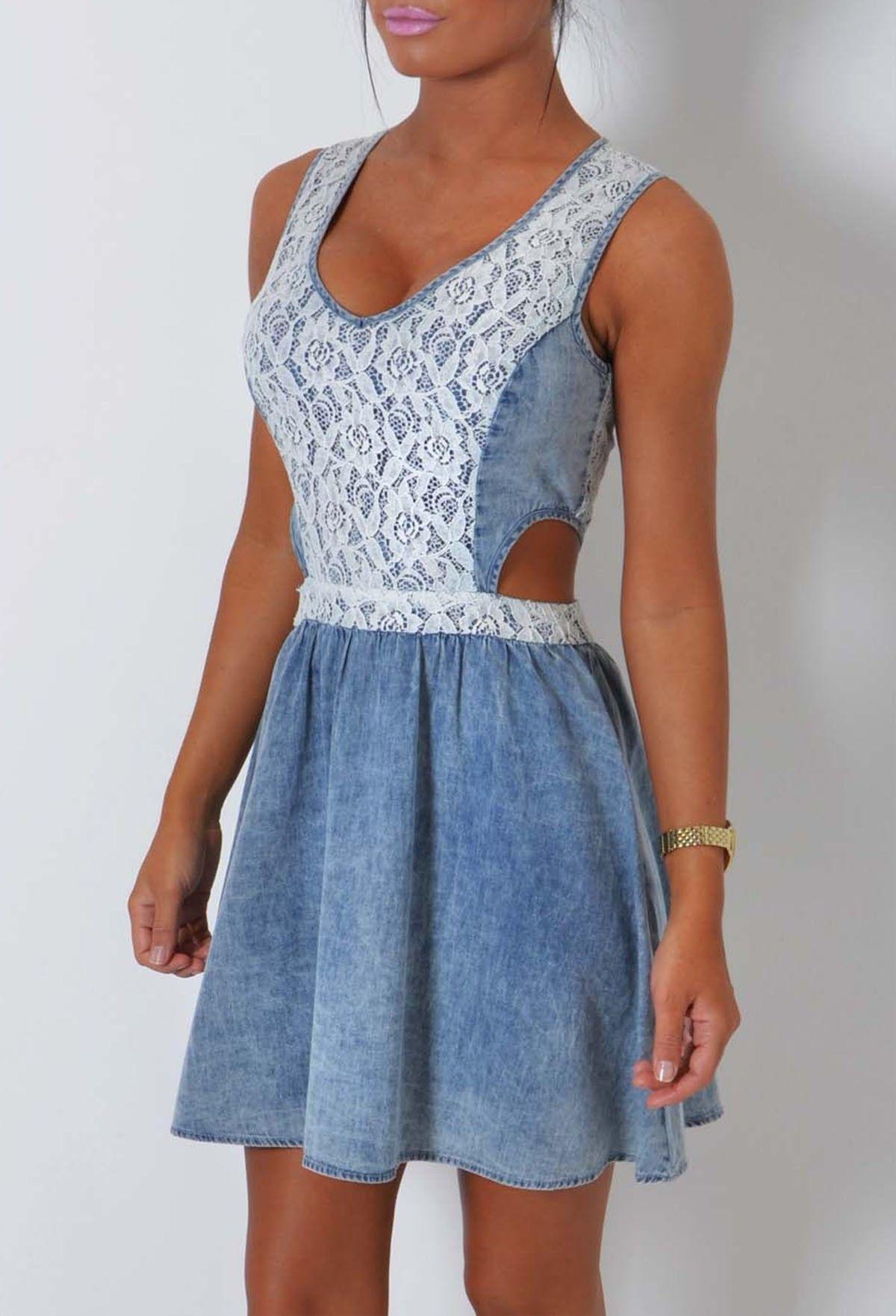 20a47a90dc Rock Away Blue Denim and Lace Skater Dress - 8