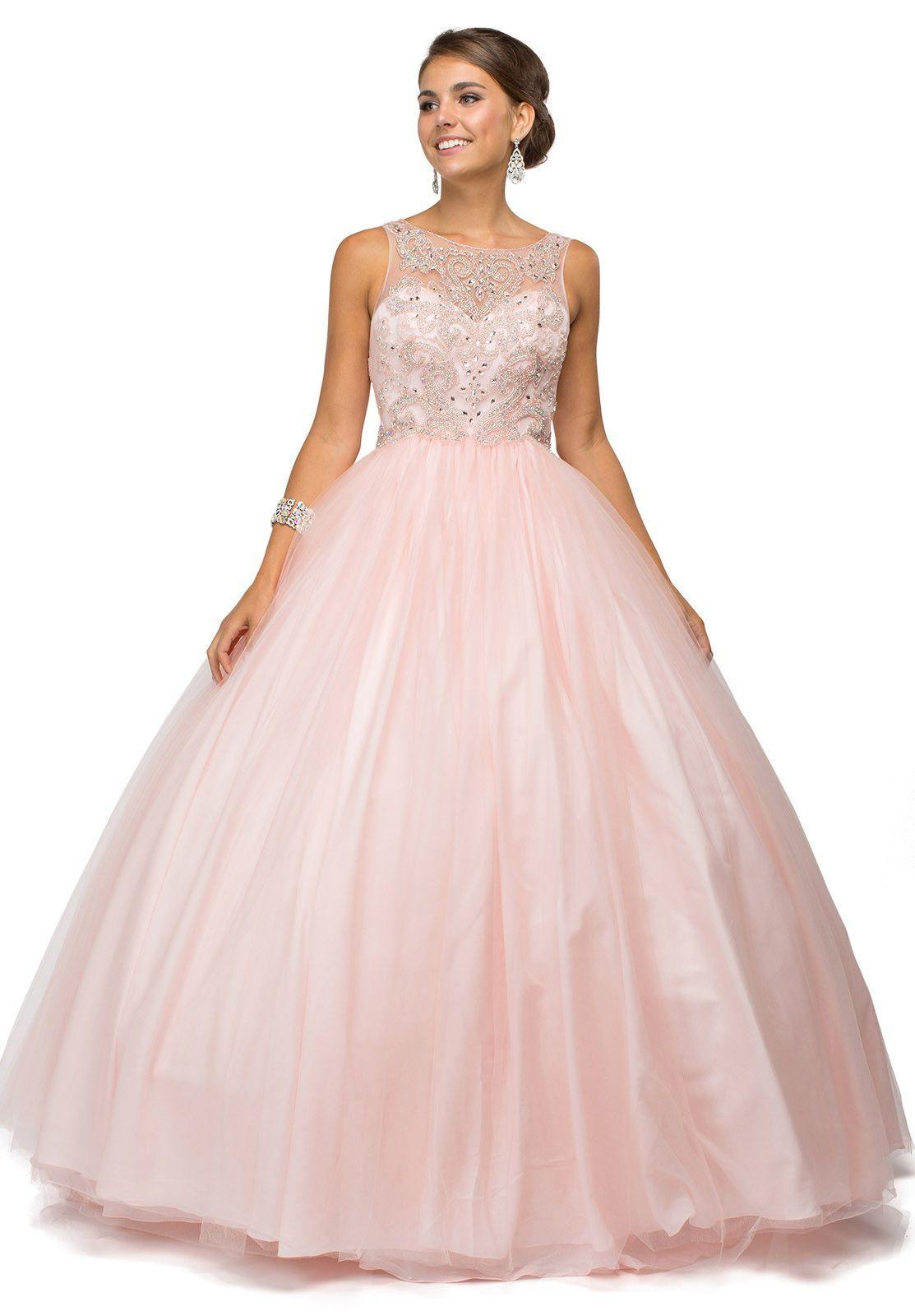 Blush Rhinestones Bodice Sleeveless Lace Up Back Satin Ball Gown ...