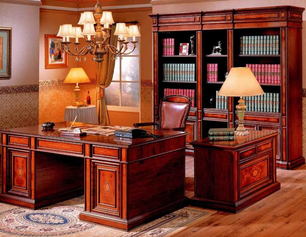 Office : Traditional Home Office Design With Luxury Home Office Desk And  Wooden Bookshelves Also Antique