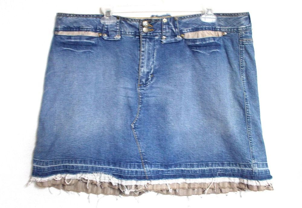 Venezia denim skirt skort 18 2x distressed ruffle trim shorts womens plus size