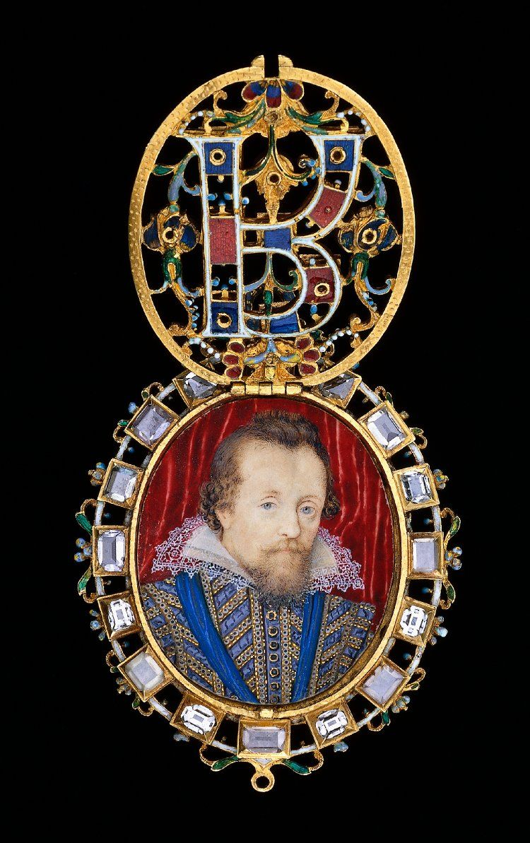 The Lyte Jewel; the front jeweled cover lifts to reveal a very fine painted miniature of James I.  As Elizabeth left no issue, she designated James I, who was ironically Mary Queen of Scot's son, as her heir and next in line to the English throne.