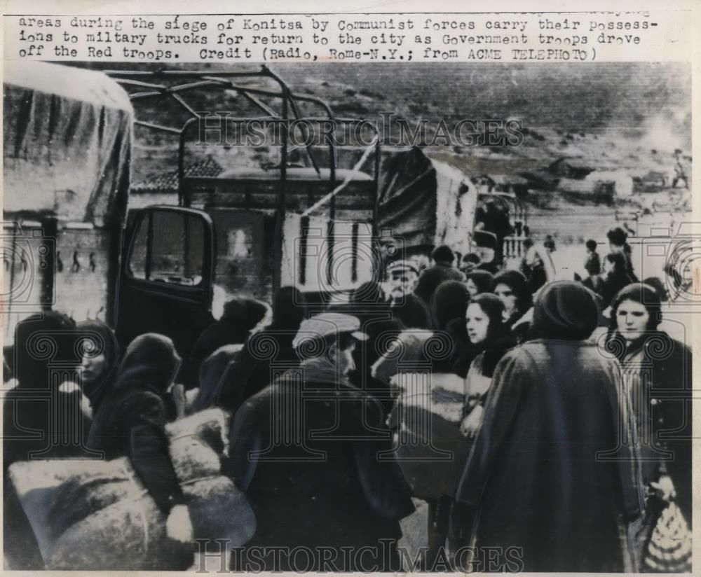 1948 Press Photo Refugees fled from Konitsa, Greece to outlying areas