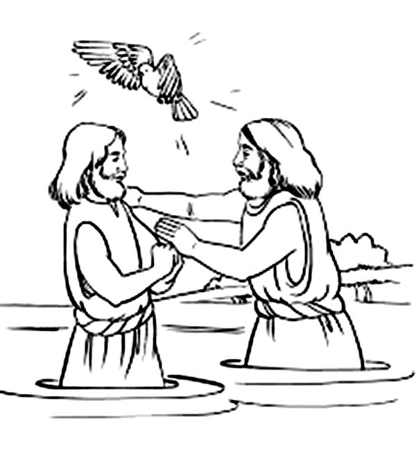 Holy Spirit Blessing Jesus Baptism in John the Baptist ...
