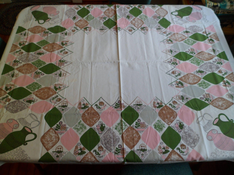 "Vintage Simtex Tablecloth ""Harlequin"" 42 x 51"" Pink Green Mid"