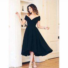 Bayan Elbise Asimetrik Midi Boy Siyah Prenses Elbisemiz Elbise Kadin Giyim Moda Stilleri