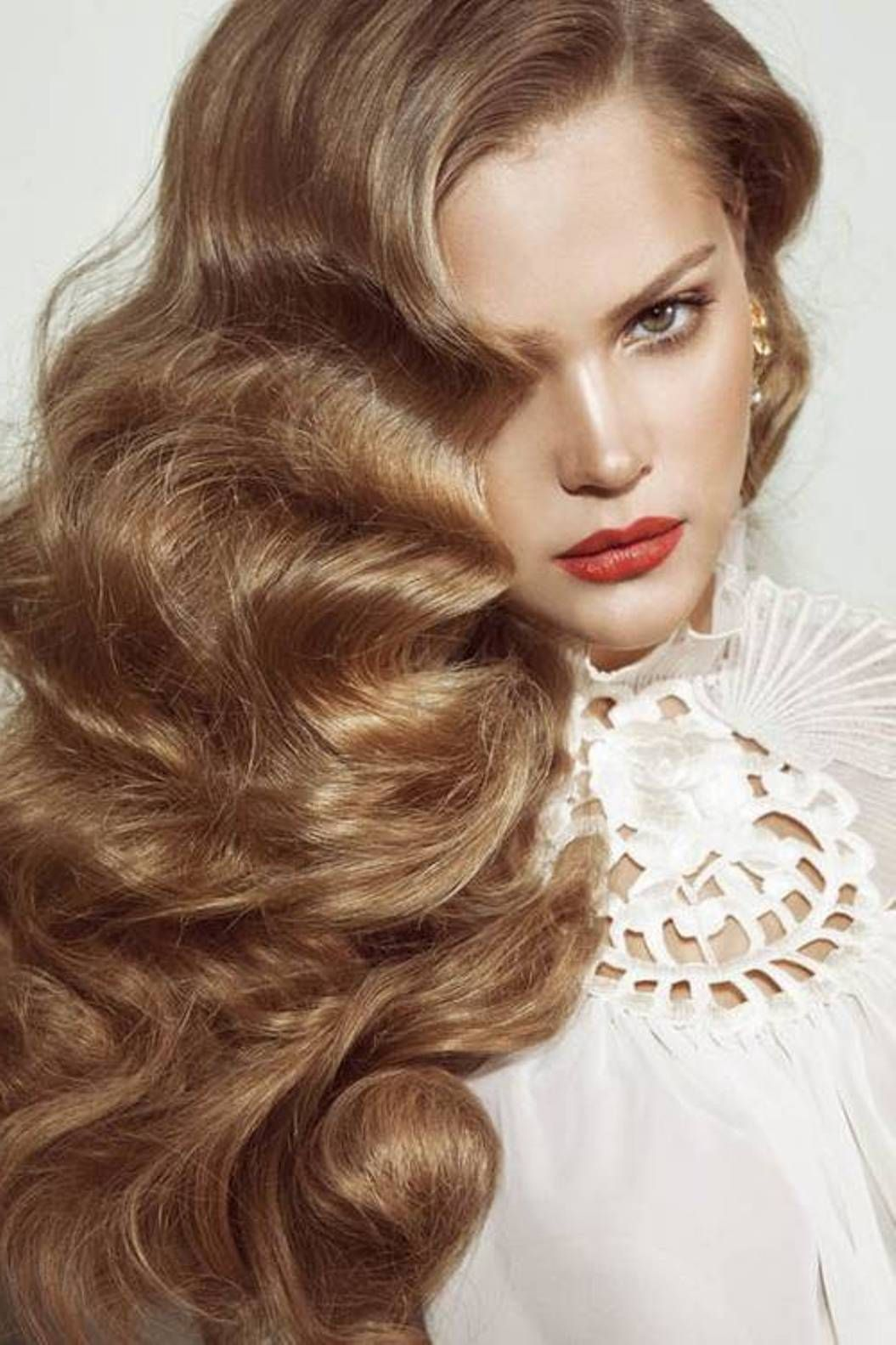 long finger wave hairstyles | Finger wave hair, Long hair waves, Wavy wedding hair