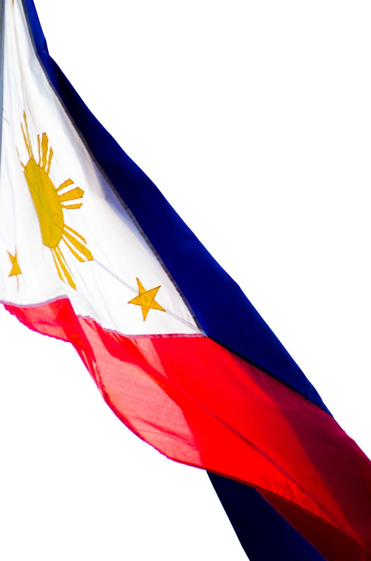 philippine flag The flag of the philippines has two horizontal bands colored royal blue and  scarlet it also has a triangle on its left side with an 8-rayed sun and three stars.