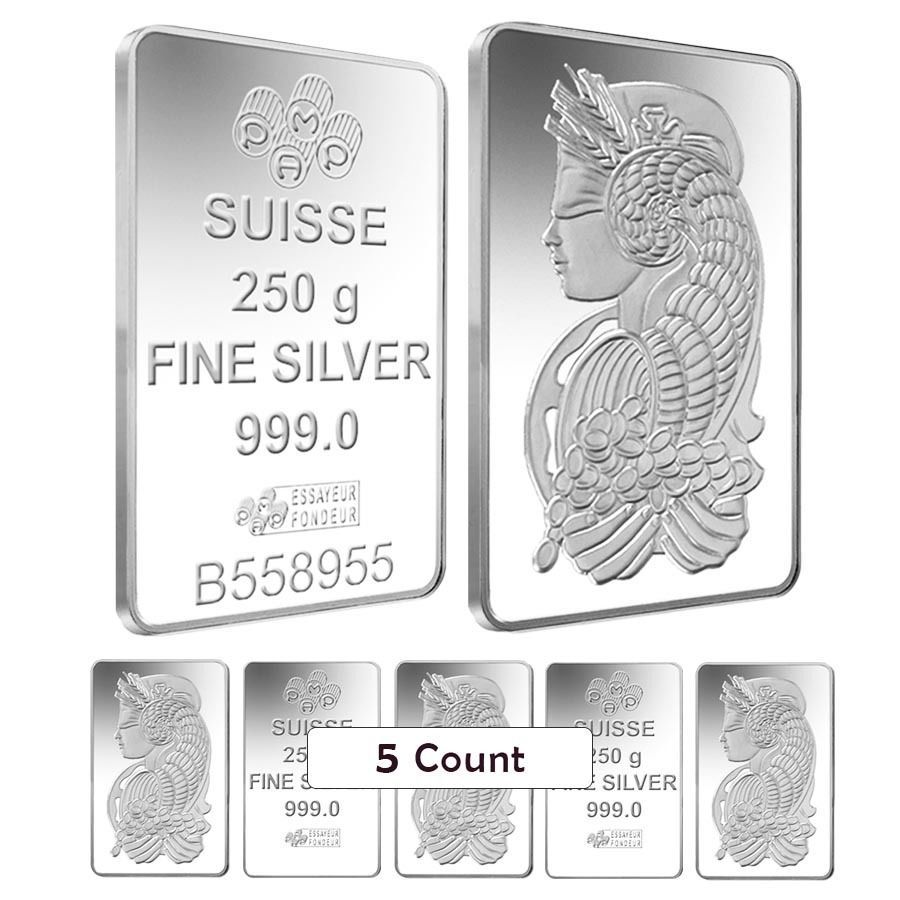 Lot Of 5 250 Gram Silver Bar Pamp Suisse Lady Fortuna 999 Fine W Assay Silver Bars Fortuna Silver