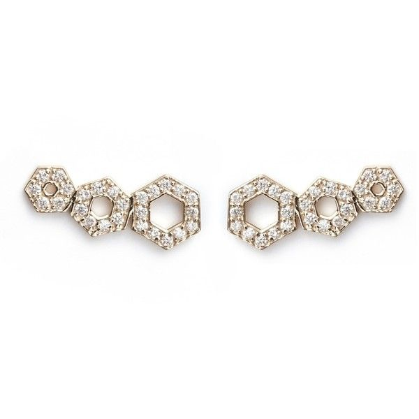 Michelle Campbell 'Honeycomb Gradient' diamond 14k gold climber... ($3,440) ❤ liked on Polyvore featuring jewelry, earrings, white, yellow gold earrings, gold druzy earrings, white diamond earrings, white gold earrings and 14k gold jewelry