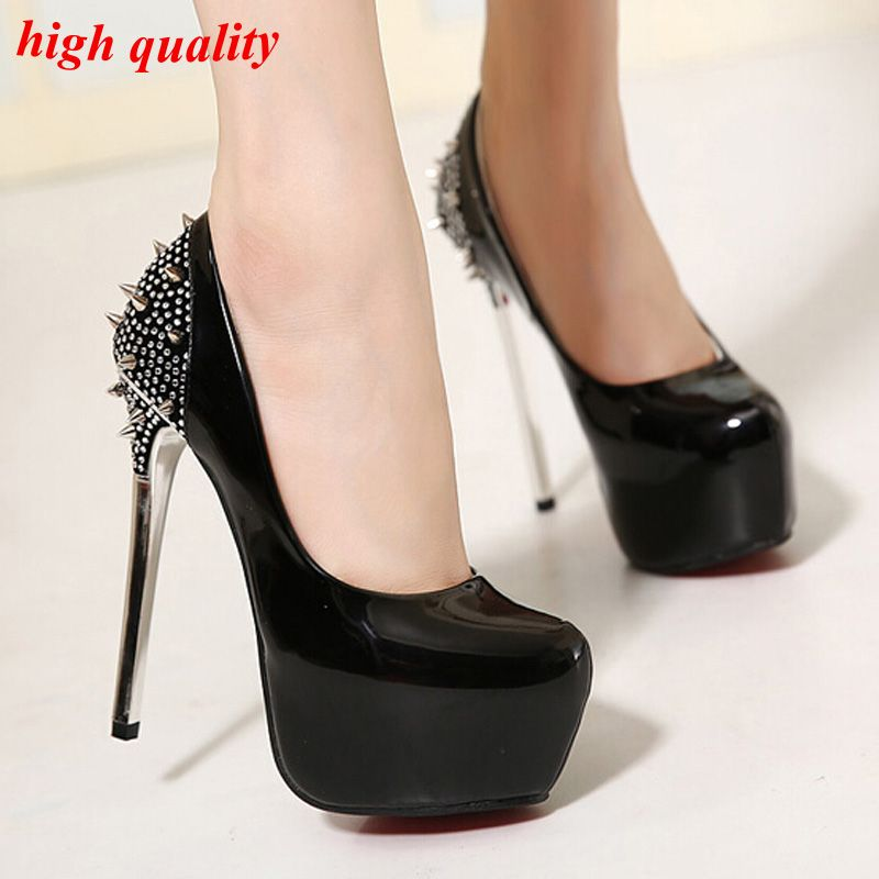 ae2f9b440 Cheap Tacones de aguja inferior rojo Shoes zapatos de tacón alto remaches  negro tacones altos de