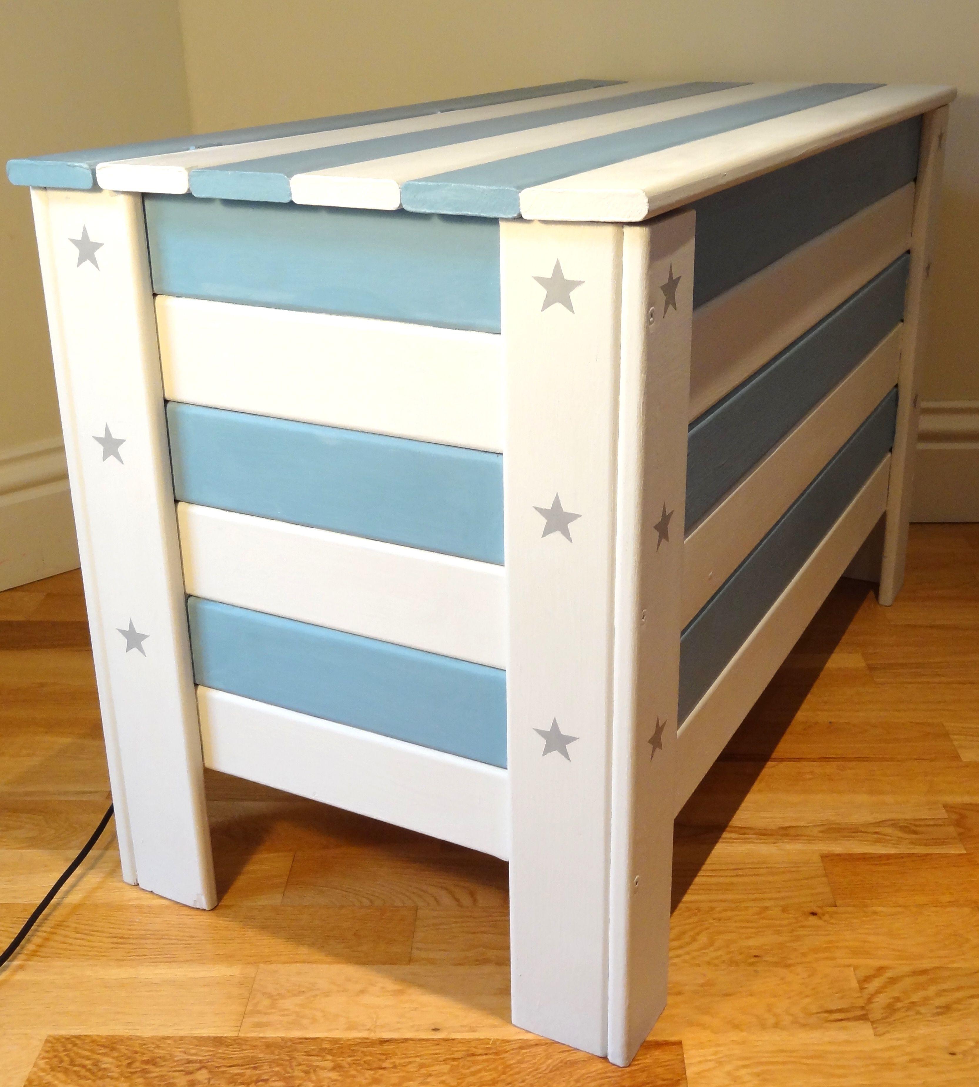 Large New Wooden Storage Box Diy Crates Toy Boxes Set: Skandi Stars & Stripes Toy Box £150 – SOLD