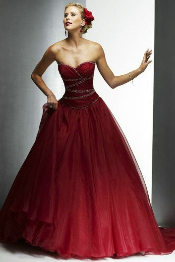 Sweetheart Ruched V Neck Strapless Beaded Long Elegant Red Wedding Dress 2017