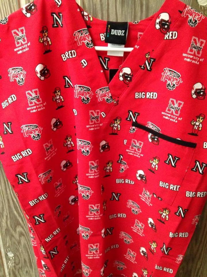 Scrub DUDZ Top Size XL Nebraska Huskers Red NEW