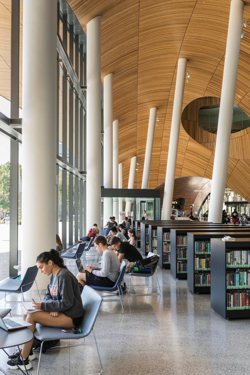 Snohetta Wooden Arches Carved In A New Library In Philadelphia University Architecture Temple University Architecture
