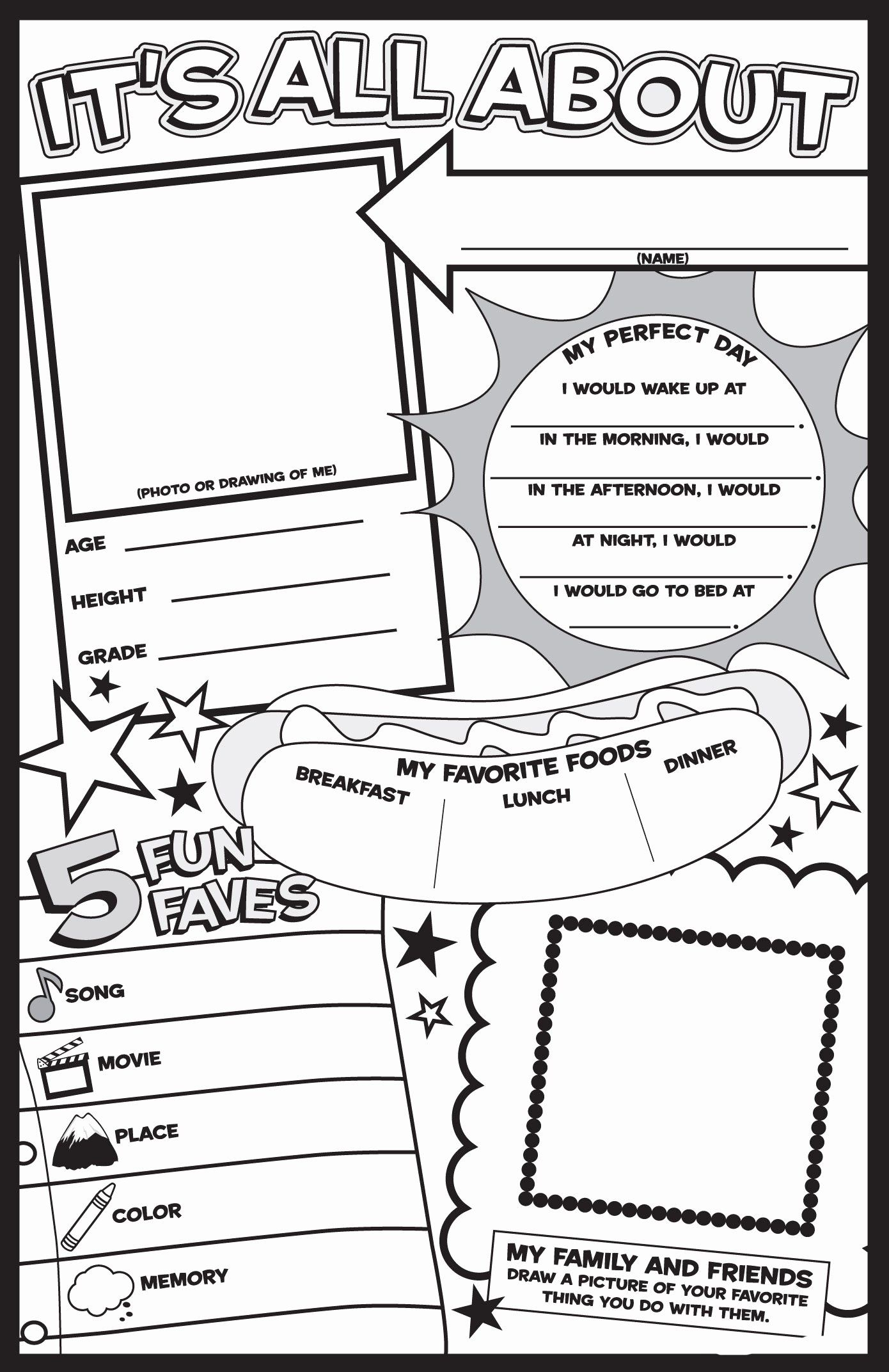 Pin By Tiffany Feil On Kids Planners About Me Poster First Day Of School Activities All About Me Worksheet