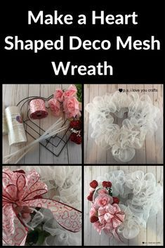 Make a heart deco mesh wreath for Valentine's Day. #decomesh #valentinesday #valentinecraft #wreath #decomeshwreaths