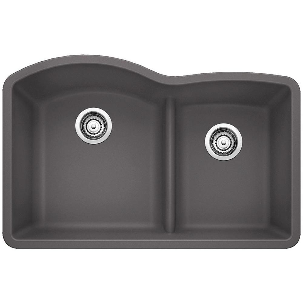 Blanco Diamond Undermount Granite Composite 32 In 60 40 Double Bowl Kitchen Sink With Low Divide In Cinder 441591 Double Bowl Kitchen Sink Silgranit Sink Sink
