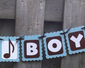 Music Baby Theme   ITS A BOY Rock And Roll Theme Banne R, Baby Shower